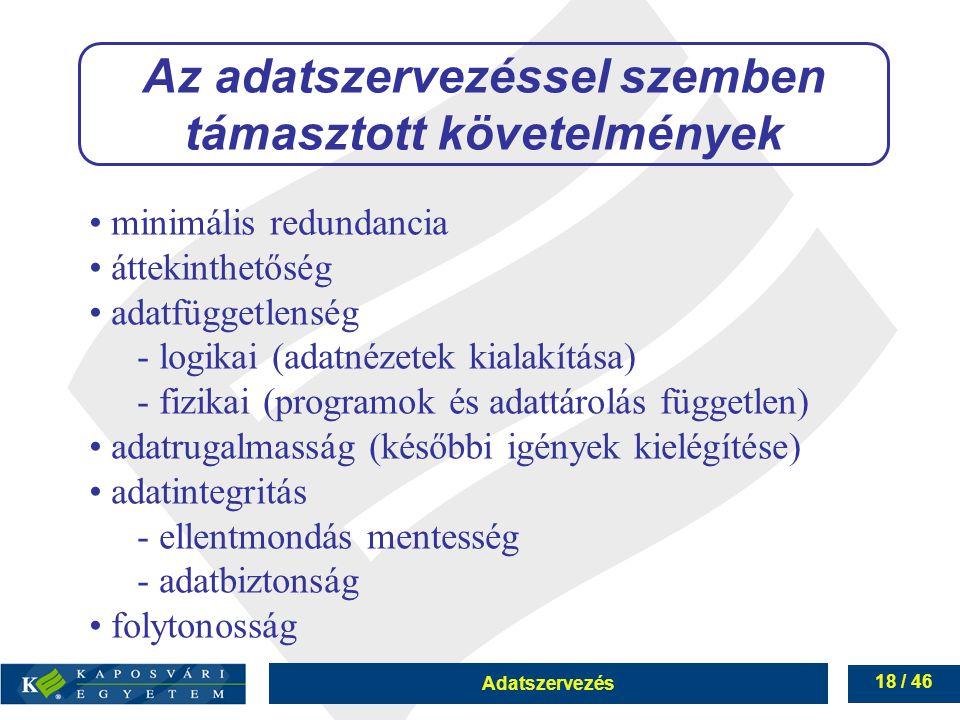 Adatszervezés 18 / 46 Az adatszervezéssel szemben támasztott követelmények minimális redundancia áttekinthetőség adatfüggetlenség - logikai (adatnézet