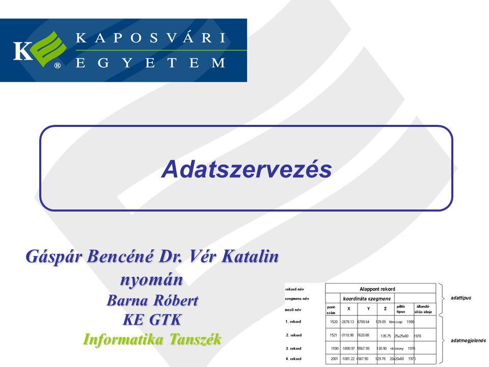 Adatszervezés 2 / 46 Gáspár Bencéné Dr. Vér Katalin nyomán Barna Róbert KE GTK Informatika Tanszék Adatszervezés