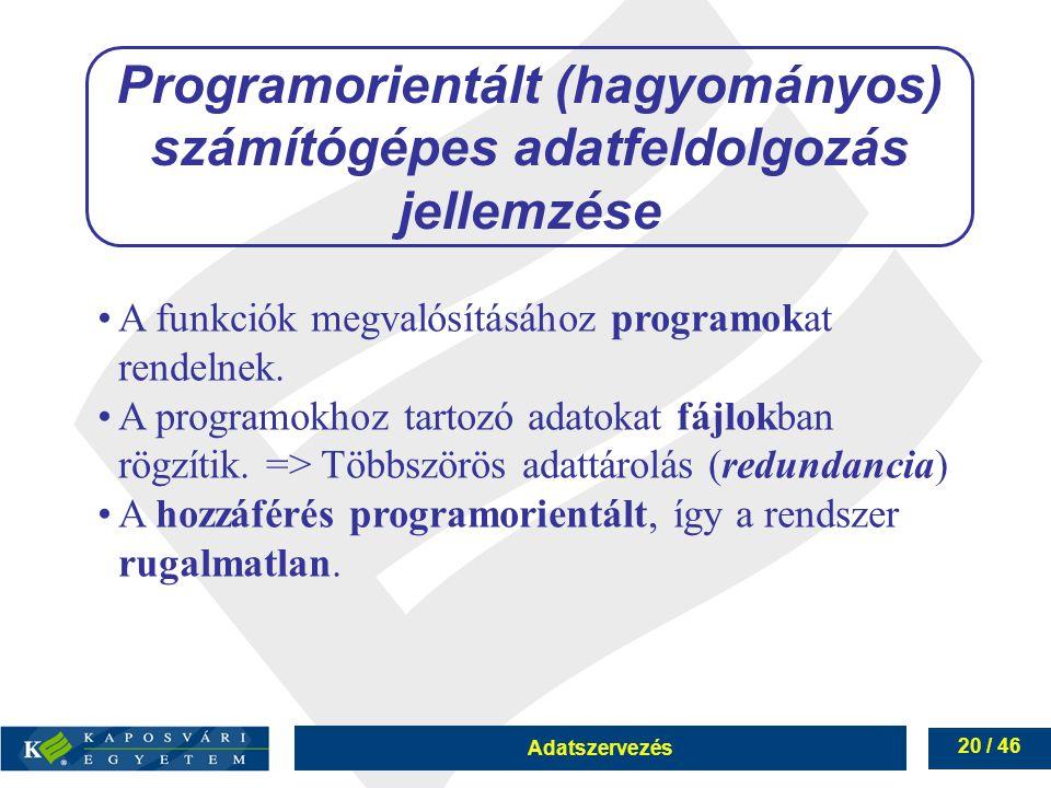 Adatszervezés 20 / 46 Programorientált (hagyományos) számítógépes adatfeldolgozás jellemzése A funkciók megvalósításához programokat rendelnek. A prog