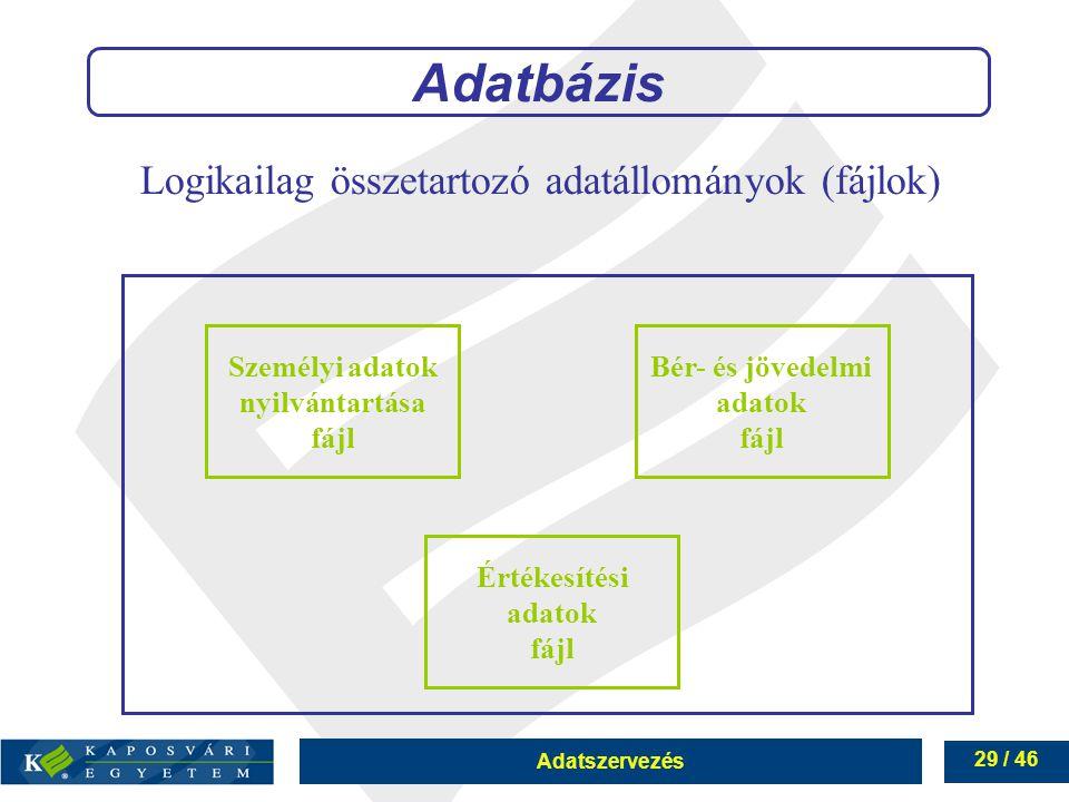 Adatszervezés 29 / 46 Adatbázis Személyi adatok nyilvántartása fájl Értékesítési adatok fájl Bér- és jövedelmi adatok fájl Logikailag összetartozó ada