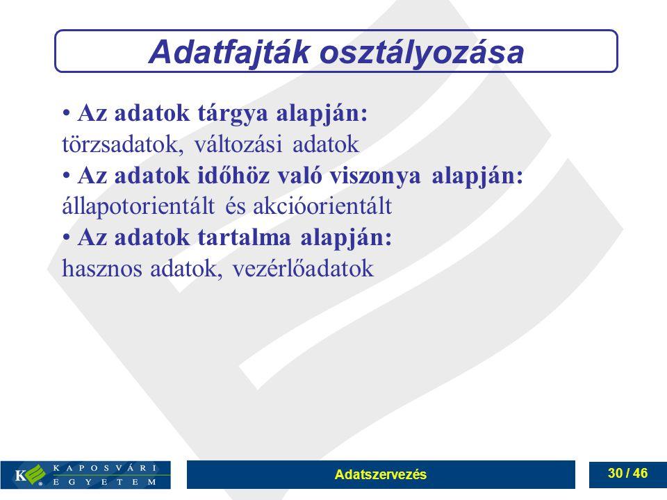 Adatszervezés 30 / 46 Adatfajták osztályozása Az adatok tárgya alapján: törzsadatok, változási adatok Az adatok időhöz való viszonya alapján: állapoto