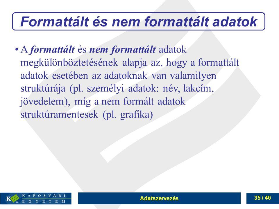 Adatszervezés 35 / 46 Formattált és nem formattált adatok A formattált és nem formattált adatok megkülönböztetésének alapja az, hogy a formattált adat