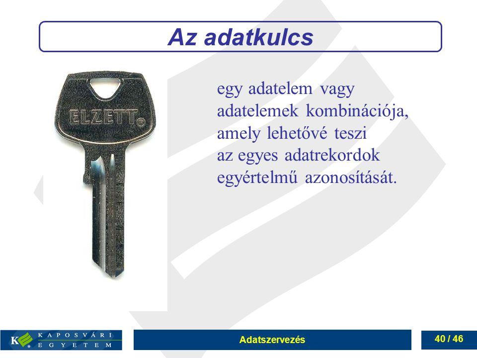 Adatszervezés 40 / 46 Az adatkulcs egy adatelem vagy adatelemek kombinációja, amely lehetővé teszi az egyes adatrekordok egyértelmű azonosítását.
