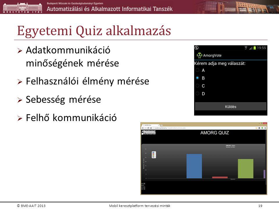 Egyetemi Quiz alkalmazás  Adatkommunikáció minőségének mérése  Felhasználói élmény mérése  Sebesség mérése  Felhő kommunikáció © BME-AAIT 2013Mobi