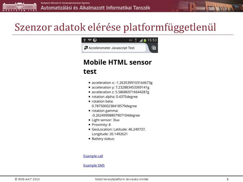 Szenzor adatok elérése platformfüggetlenül © BME-AAIT 2013Mobil keresztplatform tervezési minták8