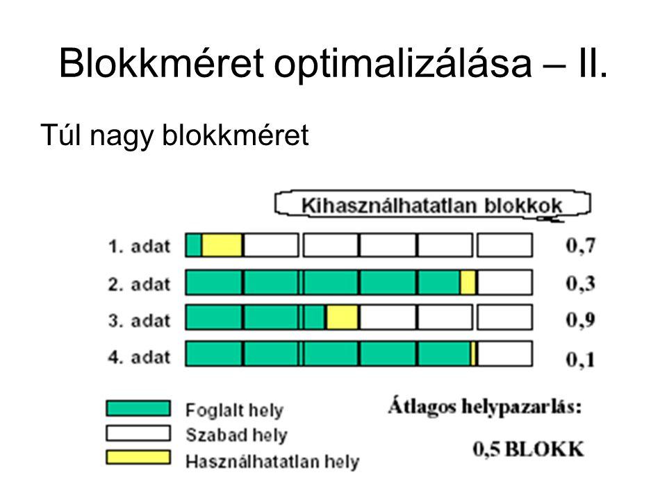 Blokkméret optimalizálása – II. Túl nagy blokkméret