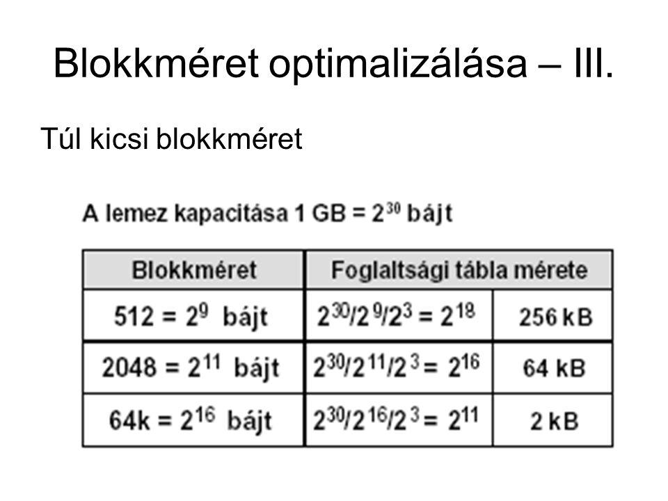 Blokkméret optimalizálása – III. Túl kicsi blokkméret