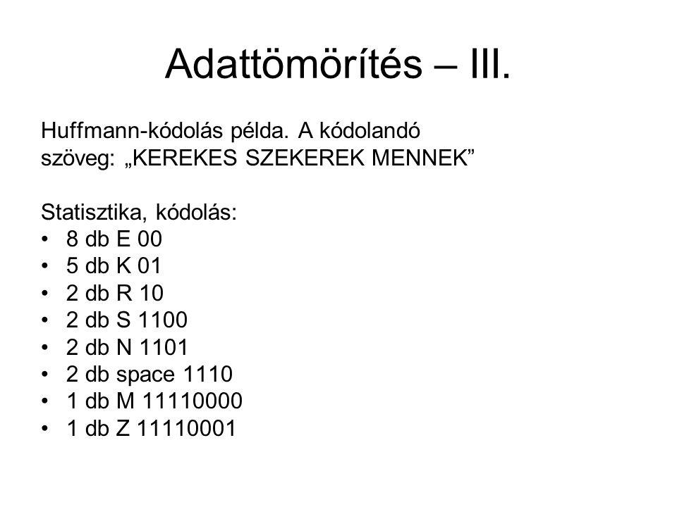 """Adattömörítés – III. Huffmann-kódolás példa. A kódolandó szöveg: """"KEREKES SZEKEREK MENNEK"""" Statisztika, kódolás: 8 db E 00 5 db K 01 2 db R 10 2 db S"""