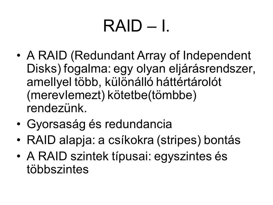 RAID – I. A RAID (Redundant Array of Independent Disks) fogalma: egy olyan eljárásrendszer, amellyel több, különálló háttértárolót (merevlemezt) kötet