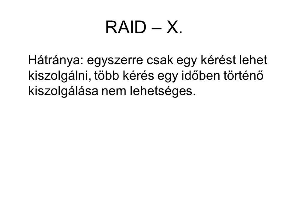 RAID – X. Hátránya: egyszerre csak egy kérést lehet kiszolgálni, több kérés egy időben történő kiszolgálása nem lehetséges.