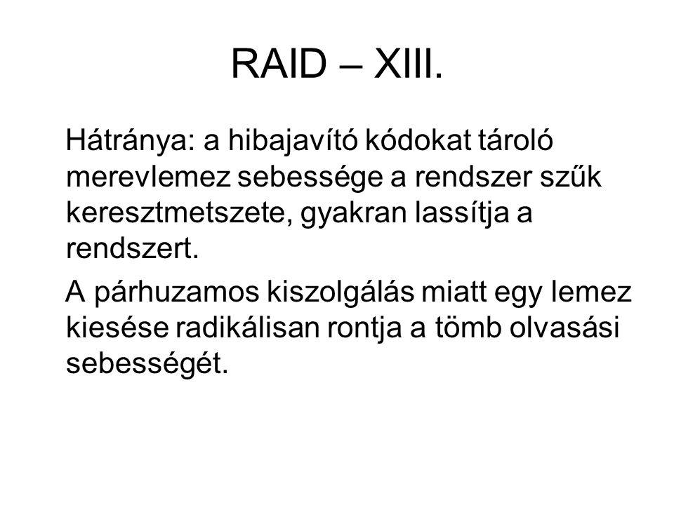 RAID – XIII. Hátránya: a hibajavító kódokat tároló merevlemez sebessége a rendszer szűk keresztmetszete, gyakran lassítja a rendszert. A párhuzamos ki