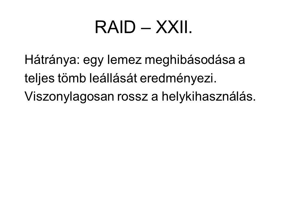 RAID – XXII. Hátránya: egy lemez meghibásodása a teljes tömb leállását eredményezi. Viszonylagosan rossz a helykihasználás.
