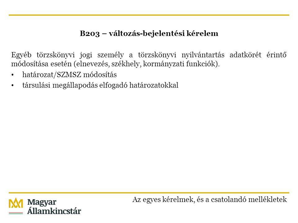 B203 – változás-bejelentési kérelem Egyéb törzskönyvi jogi személy a törzskönyvi nyilvántartás adatkörét érintő módosítása esetén (elnevezés, székhely