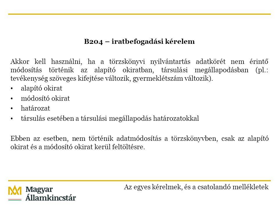 B204 – iratbefogadási kérelem Akkor kell használni, ha a törzskönyvi nyilvántartás adatkörét nem érintő módosítás történik az alapító okiratban, társulási megállapodásban (pl.: tevékenység szöveges kifejtése változik, gyermeklétszám változik).