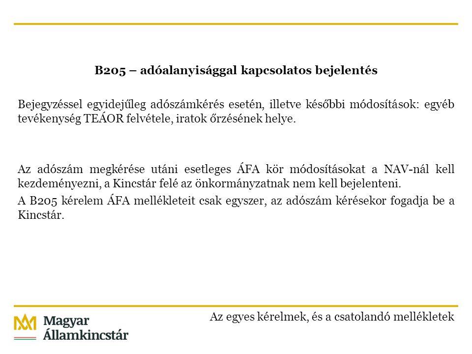 B205 – adóalanyisággal kapcsolatos bejelentés Bejegyzéssel egyidejűleg adószámkérés esetén, illetve későbbi módosítások: egyéb tevékenység TEÁOR felvé