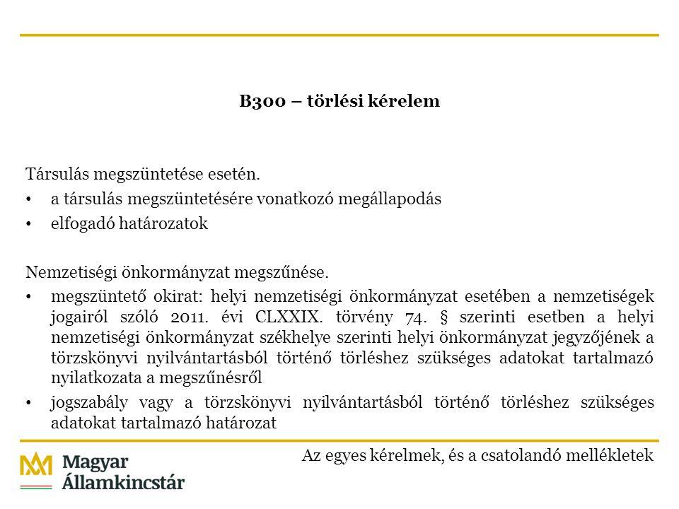 B300 – törlési kérelem Társulás megszüntetése esetén. a társulás megszüntetésére vonatkozó megállapodás elfogadó határozatok Nemzetiségi önkormányzat