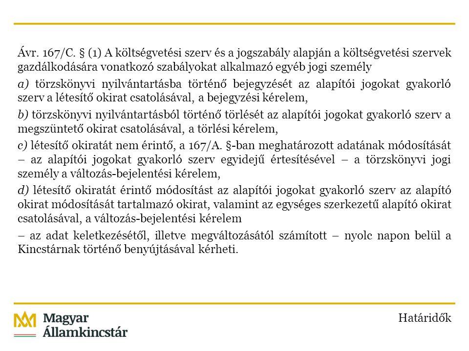 Ávr. 167/C. § (1) A költségvetési szerv és a jogszabály alapján a költségvetési szervek gazdálkodására vonatkozó szabályokat alkalmazó egyéb jogi szem
