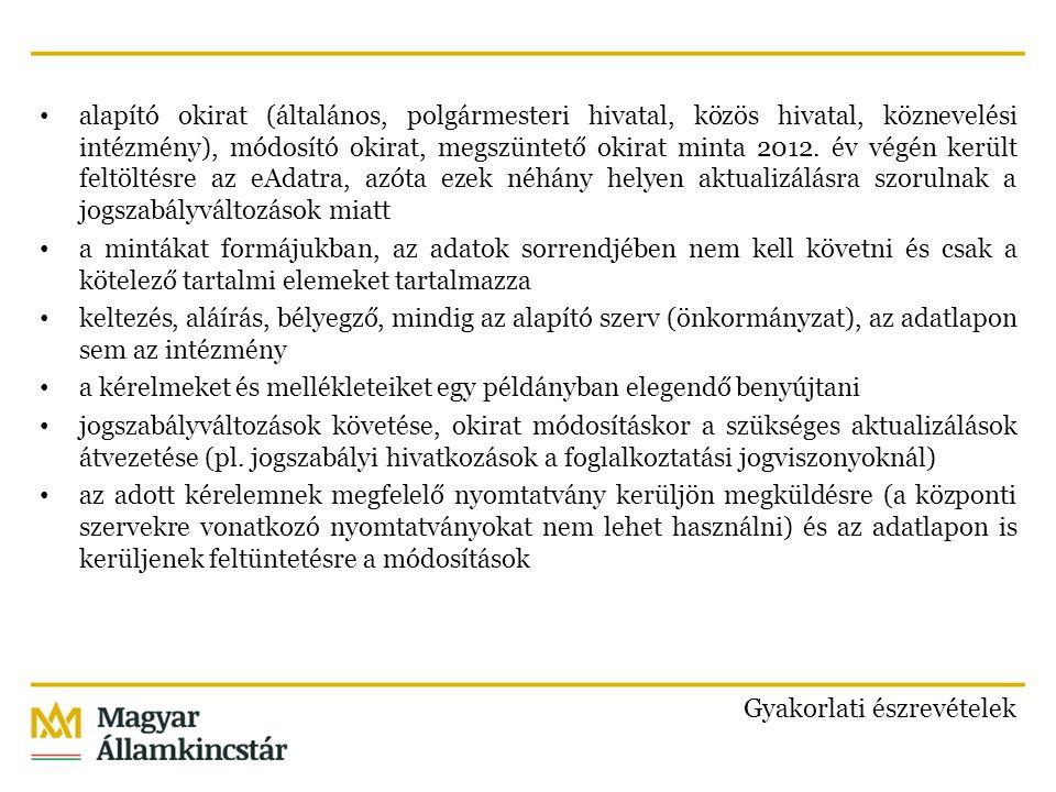 alapító okirat (általános, polgármesteri hivatal, közös hivatal, köznevelési intézmény), módosító okirat, megszüntető okirat minta 2012.