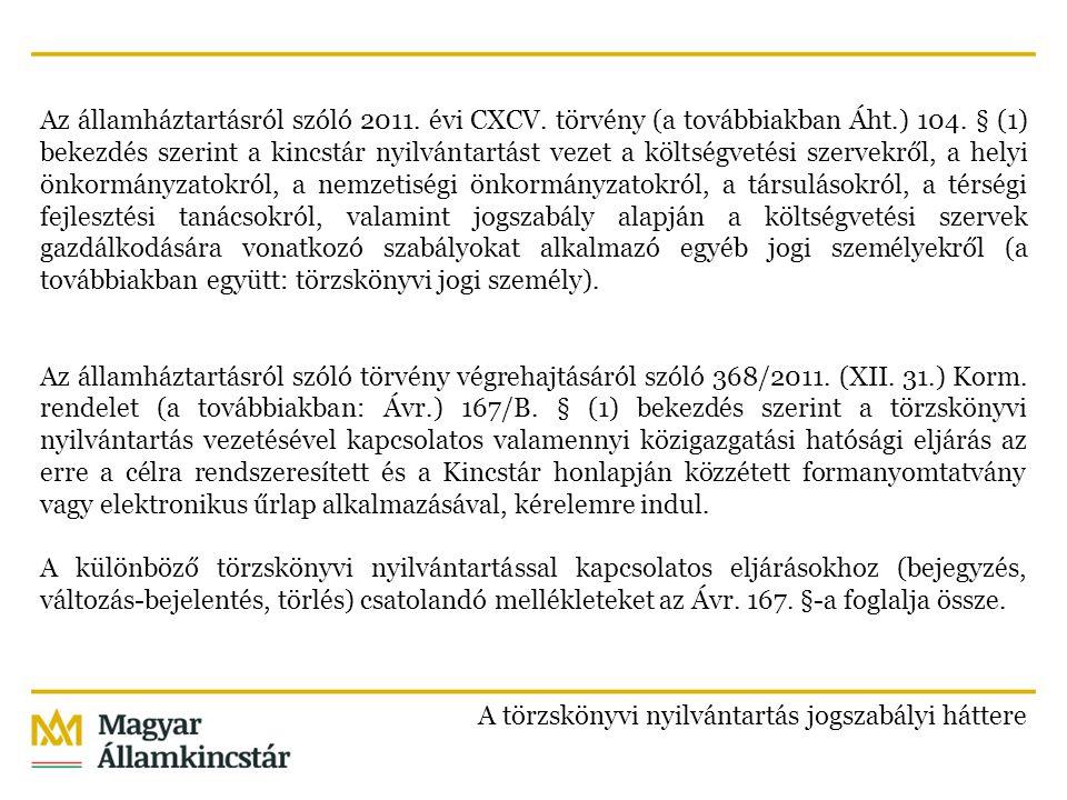 Az államháztartásról szóló 2011. évi CXCV. törvény (a továbbiakban Áht.) 104. § (1) bekezdés szerint a kincstár nyilvántartást vezet a költségvetési s