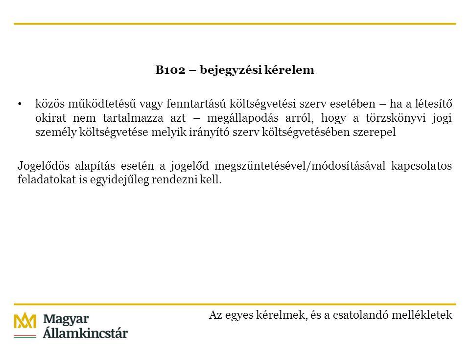 B102 – bejegyzési kérelem közös működtetésű vagy fenntartású költségvetési szerv esetében – ha a létesítő okirat nem tartalmazza azt – megállapodás arról, hogy a törzskönyvi jogi személy költségvetése melyik irányító szerv költségvetésében szerepel Jogelődös alapítás esetén a jogelőd megszüntetésével/módosításával kapcsolatos feladatokat is egyidejűleg rendezni kell.