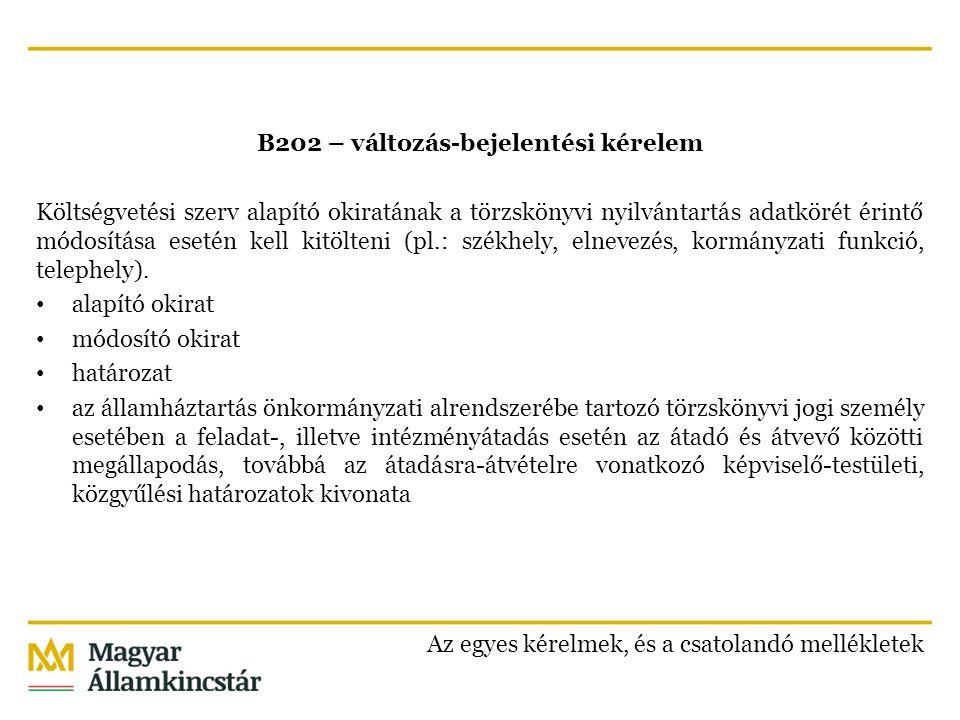 B203 – változás-bejelentési kérelem Egyéb törzskönyvi jogi személy a törzskönyvi nyilvántartás adatkörét érintő módosítása esetén (elnevezés, székhely, kormányzati funkciók).