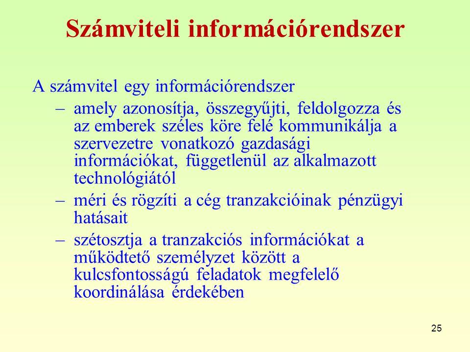 Számviteli információrendszer A számvitel egy információrendszer –amely azonosítja, összegyűjti, feldolgozza és az emberek széles köre felé kommunikálja a szervezetre vonatkozó gazdasági információkat, függetlenül az alkalmazott technológiától –méri és rögzíti a cég tranzakcióinak pénzügyi hatásait –szétosztja a tranzakciós információkat a működtető személyzet között a kulcsfontosságú feladatok megfelelő koordinálása érdekében 25