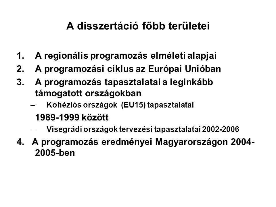 A disszertáció főbb területei 1.A regionális programozás elméleti alapjai 2.A programozási ciklus az Európai Unióban 3.A programozás tapasztalatai a leginkább támogatott országokban –Kohéziós országok (EU15) tapasztalatai 1989-1999 között –Visegrádi országok tervezési tapasztalatai 2002-2006 4.