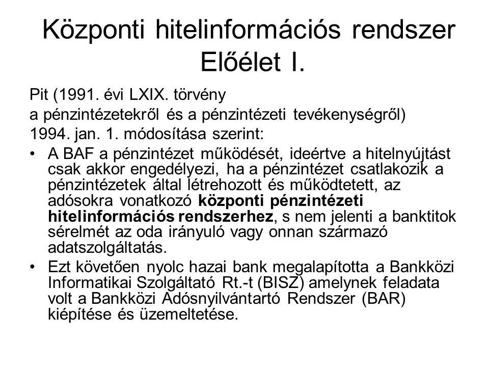 Központi hitelinformációs rendszer Előélet I. Pit (1991. évi LXIX. törvény a pénzintézetekről és a pénzintézeti tevékenységről) 1994. jan. 1. módosítá