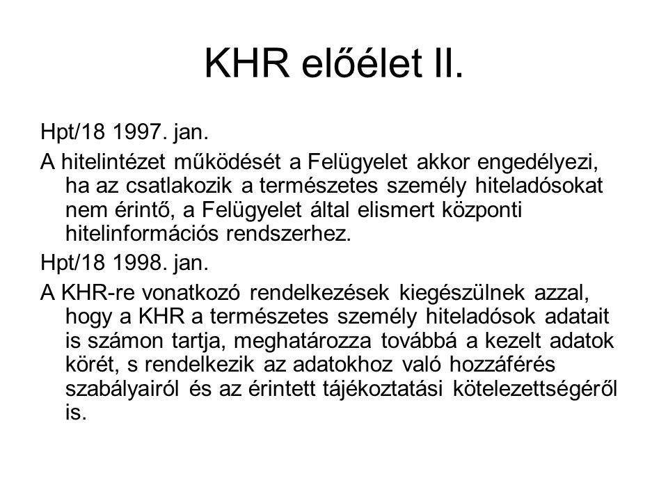 KHR előélet II. Hpt/18 1997. jan. A hitelintézet működését a Felügyelet akkor engedélyezi, ha az csatlakozik a természetes személy hiteladósokat nem é