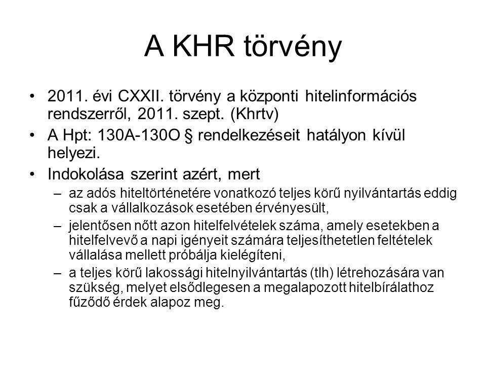 A KHR törvény 2011. évi CXXII. törvény a központi hitelinformációs rendszerről, 2011. szept. (Khrtv) A Hpt: 130A-130O § rendelkezéseit hatályon kívül