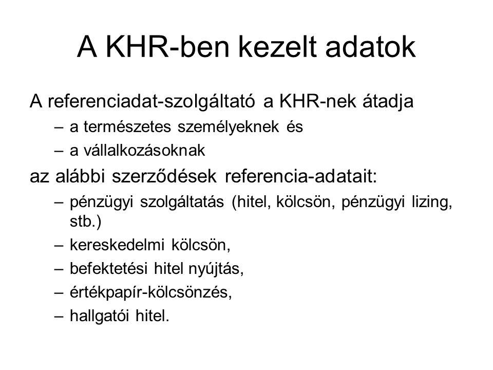 A KHR-ben kezelt adatok A referenciadat-szolgáltató a KHR-nek átadja –a természetes személyeknek és –a vállalkozásoknak az alábbi szerződések referenc