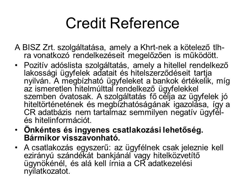 Credit Reference A BISZ Zrt. szolgáltatása, amely a Khrt-nek a kötelező tlh- ra vonatkozó rendelkezéseit megelőzően is működött. Pozitív adóslista szo