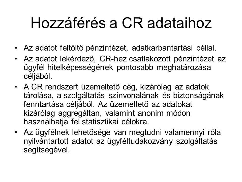 Hozzáférés a CR adataihoz Az adatot feltöltő pénzintézet, adatkarbantartási céllal. Az adatot lekérdező, CR-hez csatlakozott pénzintézet az ügyfél hit