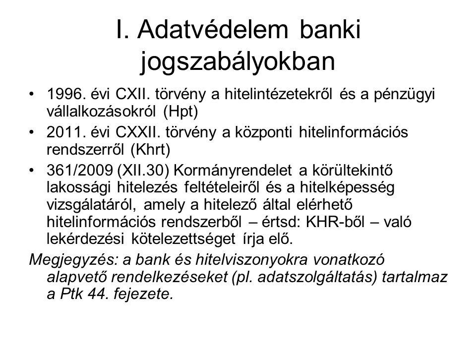 I. Adatvédelem banki jogszabályokban 1996. évi CXII. törvény a hitelintézetekről és a pénzügyi vállalkozásokról (Hpt) 2011. évi CXXII. törvény a közpo
