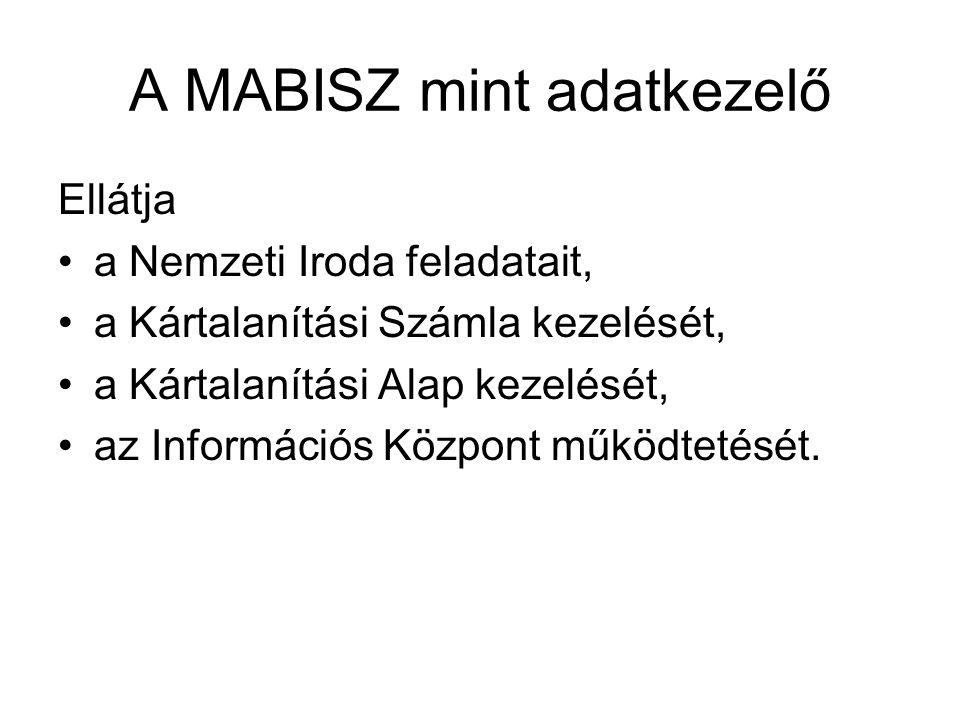A MABISZ mint adatkezelő Ellátja a Nemzeti Iroda feladatait, a Kártalanítási Számla kezelését, a Kártalanítási Alap kezelését, az Információs Központ