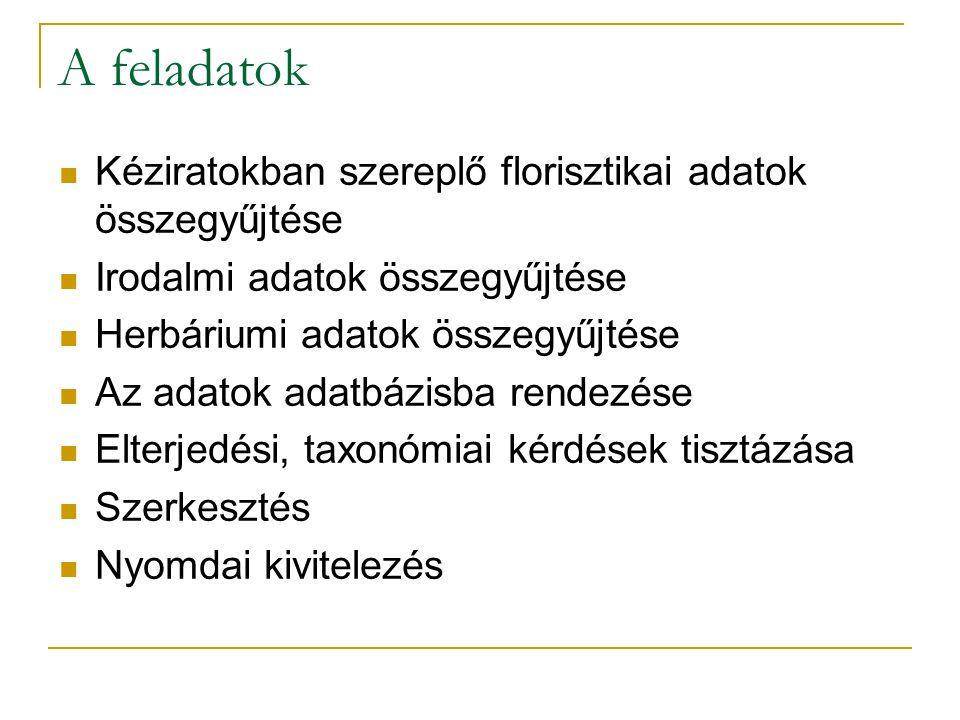 A feladatok Kéziratokban szereplő florisztikai adatok összegyűjtése Irodalmi adatok összegyűjtése Herbáriumi adatok összegyűjtése Az adatok adatbázisba rendezése Elterjedési, taxonómiai kérdések tisztázása Szerkesztés Nyomdai kivitelezés