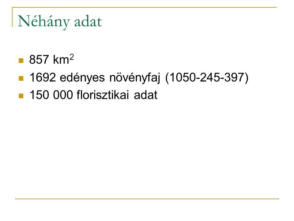 Néhány adat 857 km 2 1692 edényes növényfaj (1050-245-397) 150 000 florisztikai adat