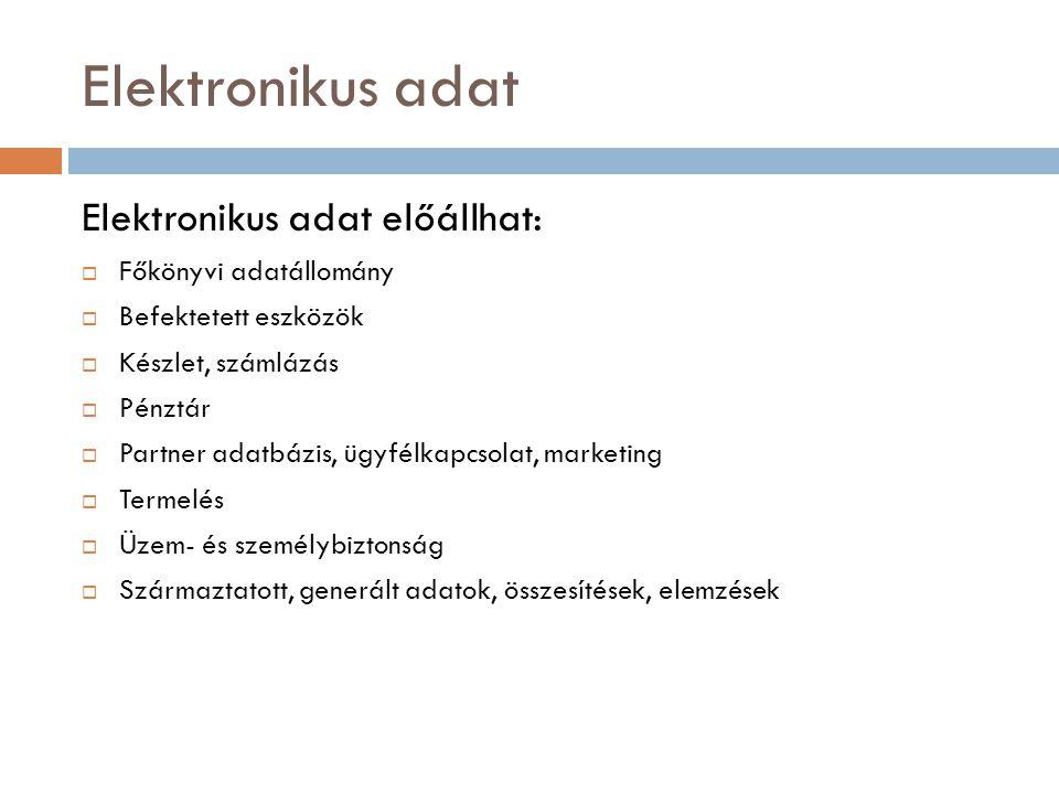 Elektronikus adat  Szabályozási keretek  Számviteli tv.