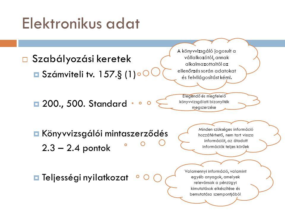 Egyéb adatközlési területek  Menedzsment információk: időszaki zárások, tulajdonosok felé történő jelentések időszaki változásának vizsgálata, illetve összevetése a pénzügyi kimutatások záró adataival  Vezetői információs rendszer: belső ellenőrzési rendszer állapotának felmérése az alkalmazott vezetői információs rendszer input és output adatainak felhasználásával  Új rendszerre történő átállás: könyvvizsgáló vélemény beépítése a választott nyilvántartási rendszerbe
