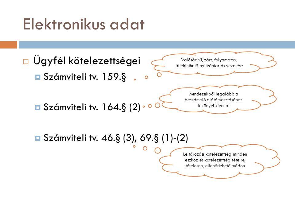 Elektronikus adat  Ügyfél kötelezettségei  Számviteli tv. 159.§  Számviteli tv. 164.§ (2)  Számviteli tv. 46.§ (3), 69.§ (1)-(2) Valósághű, zárt,