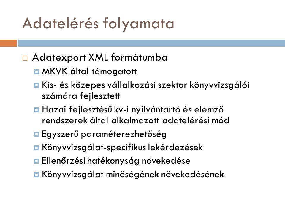 Adatelérés folyamata  Adatexport XML formátumba  MKVK által támogatott  Kis- és közepes vállalkozási szektor könyvvizsgálói számára fejlesztett  H