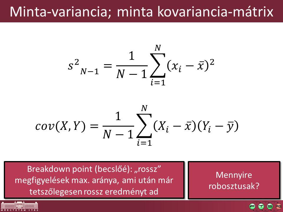 """Minta-variancia; minta kovariancia-mátrix Mennyire robosztusak? Breakdown point (becslőé): """"rossz"""" megfigyelések max. aránya, ami után már tetszőleges"""