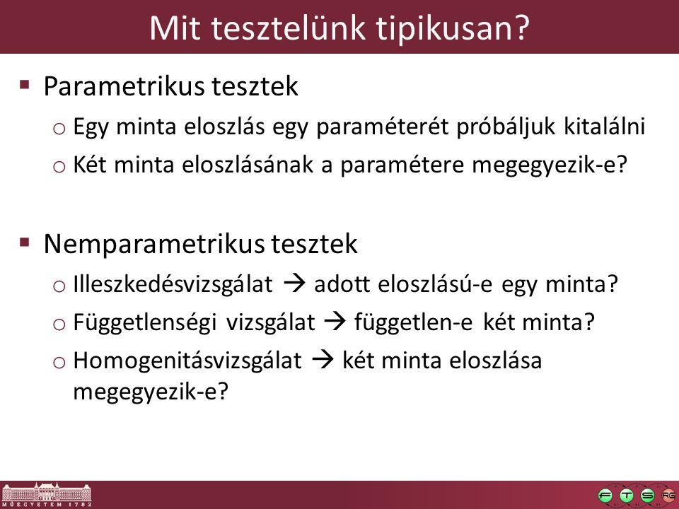 Mit tesztelünk tipikusan?  Parametrikus tesztek o Egy minta eloszlás egy paraméterét próbáljuk kitalálni o Két minta eloszlásának a paramétere megegy
