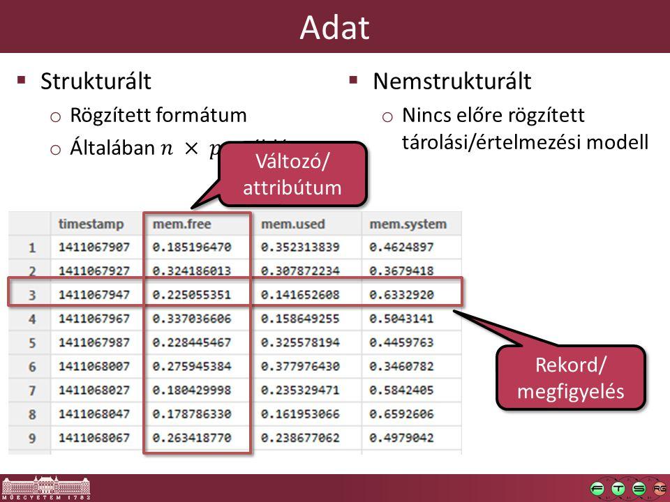 """Adattípusok  Indexelő (indexing) vagy azonosító (identifier) változók o Különleges eset: elsődleges és idegen kulcsok  Bináris (indikátor)  Bool: """"nem ismert érték is lehet  Nominális o Sztring o Általában osztályozás és kategorizálás címkéi  Ordinális o (Lineárisan) rendezett  Egészértékű, folytonos (numerikus/decimális)"""