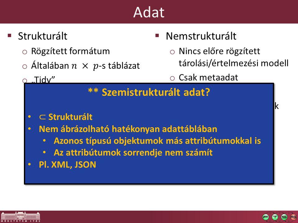 Adat  Nemstrukturált o Nincs előre rögzített tárolási/értelmezési modell o Csak metaadat o Pl. e-mail, audio anyagok o Transzformáció strukturáltba?