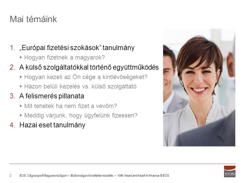 """EOS Cégcsoport Magyarországon – Biztonságos követelés-kezelés – With head and heart in finance © EOS2 1.""""Európai fizetési szokások tanulmány  Hogyan fizetnek a magyarok."""