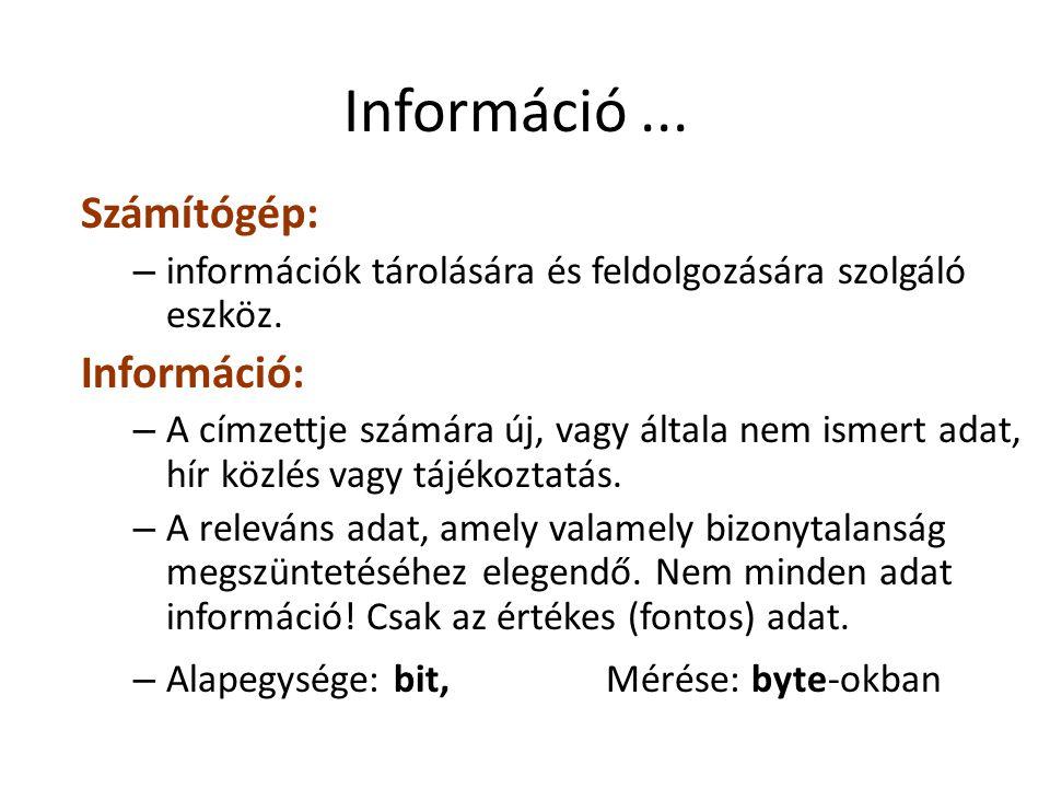Információ... Számítógép: – információk tárolására és feldolgozására szolgáló eszköz. Információ: – A címzettje számára új, vagy általa nem ismert ada