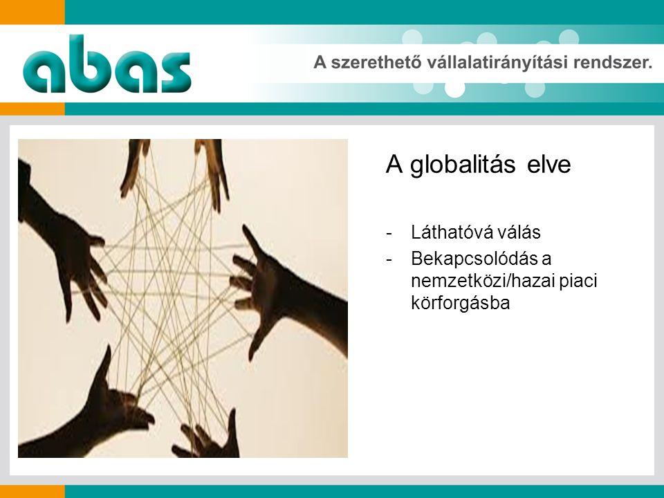 A globalitás elve -Láthatóvá válás -Bekapcsolódás a nemzetközi/hazai piaci körforgásba