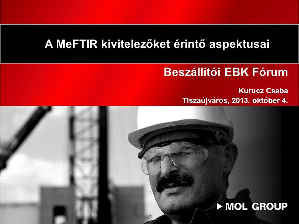 1 Beszállítói EBK Fórum Kurucz Csaba Tiszaújváros, 2013. október 4. A MeFTIR kivitelezőket érintő aspektusai