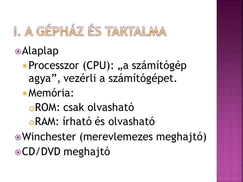 """ Alaplap  Processzor (CPU): """"a számítógép agya"""", vezérli a számítógépet.  Memória: ROM: csak olvasható RAM: írható és olvasható  Winchester (merev"""